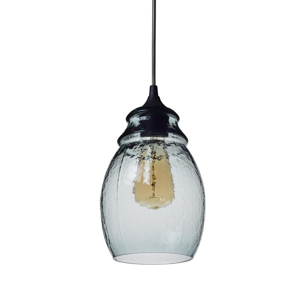 11 in. H 1-Light Black Hammered Glass Pendant with Blue Glass