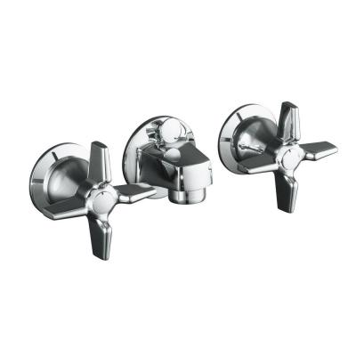 Triton Shelf-Back 2-Handle Wall Mount Commercial Bathroom Faucet with Pop-Up Drain and Cross Handles in Polished Chrome