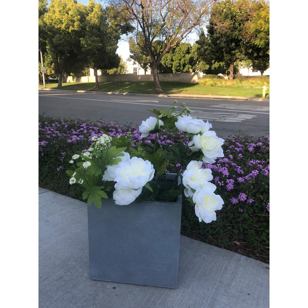 DurX-litecrete Small 9.8 in. x 9.8 in. x 9.8 in. Cement Lightweight Concrete Modern Square Planter