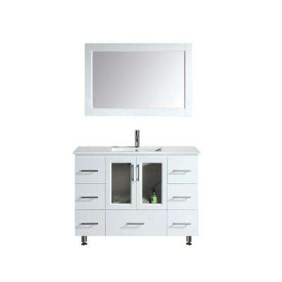 Stanton 48 in. W x 18 in. D Single Vanity in White with Porcelain Vanity Top and Mirror in White