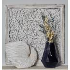 """Litton Lane 36 in. x 36 in. """"Carved Botanical Scrollwork"""" Framed Wooden Wall Art"""