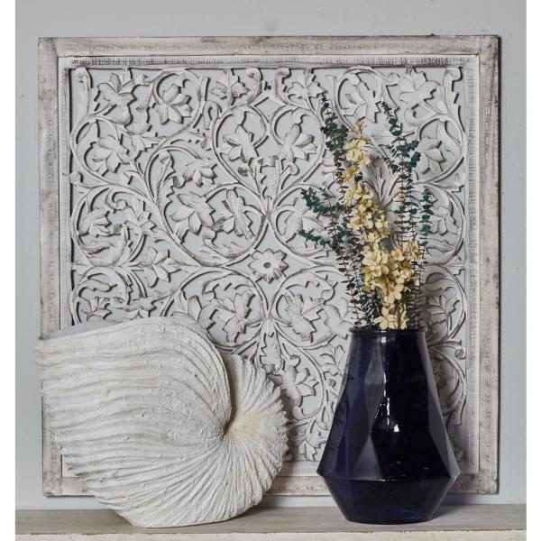 Litton Lane 36 in. x 36 in. ''Carved Botanical Scrollwork'' Framed