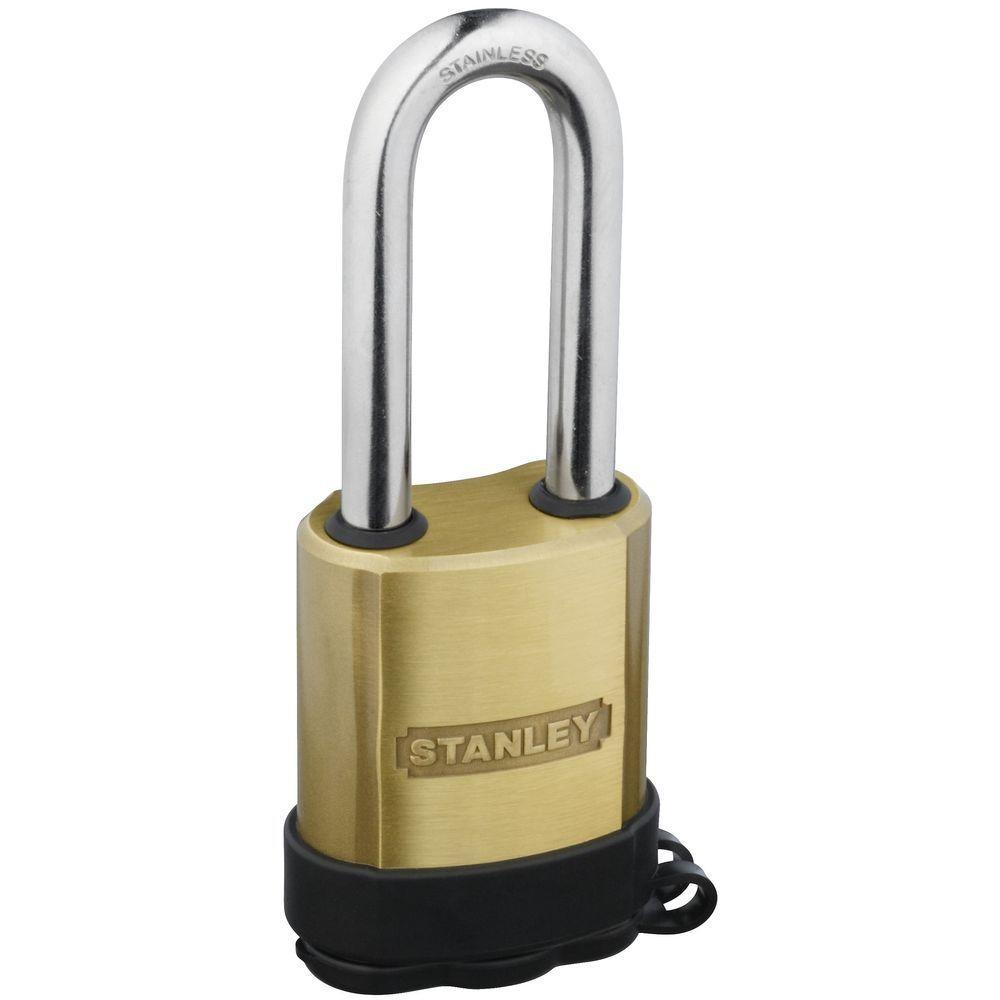 Stanley-National Hardware 1.969 in. Satin Brass All Weather Padlock