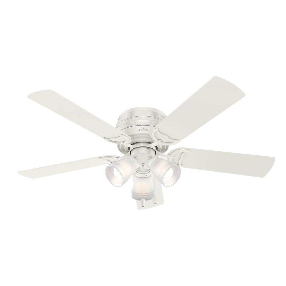 Hunter prim 52 in led indoor low profile 3 light fresh white led indoor low profile 3 light fresh white ceiling fan aloadofball Gallery