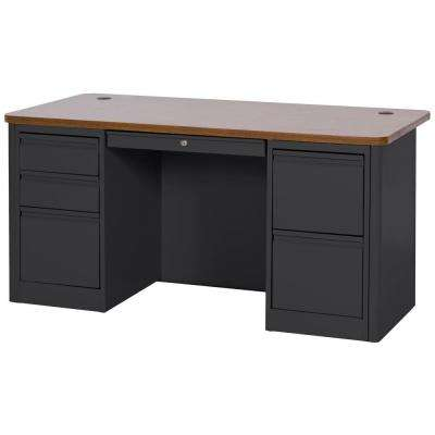 29.5 in. H x 60 in. W x 30 in. D 900 Series Double Pedestal Heavy Duty Teachers Desk in Black/Medium Oak