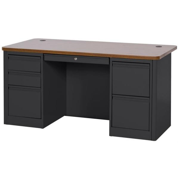 Sandusky 29.5 in. H x 60 in. W x 30 in. D 900 Series Double Pedestal Heavy Duty Teachers Desk in Black/Medium Oak