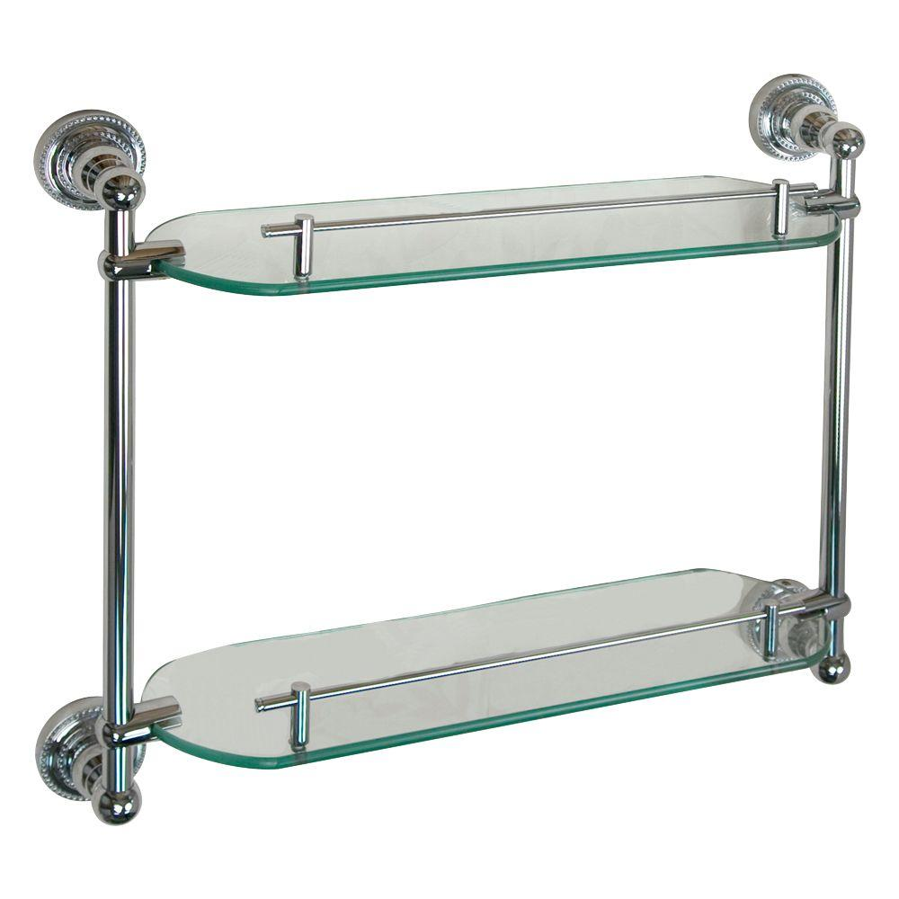 Barclay Products Nevelyn 19-1/4 in. W Double Shelf in Glass and Polished Chrome