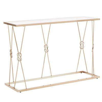 Champagne Gold with Reef Knot Frame and Glass Top Sofa Table