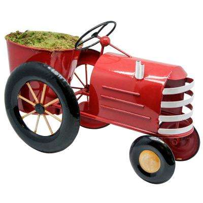 Metal Red Tractor Metal Planter