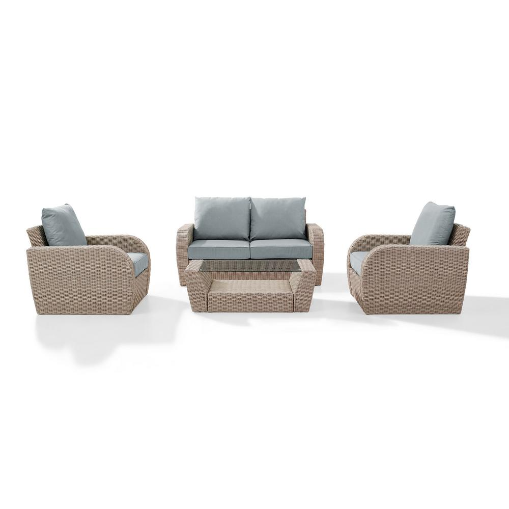 Crosley St Augustine 4-Piece Wicker Patio Outdoor Seating Set with Mist Cushion - Loveseat, 2-Chairs, Coffee Table