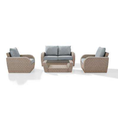 St Augustine 4-Piece Wicker Patio Outdoor Seating Set with Mist Cushion - Loveseat, 2-Chairs, Coffee Table