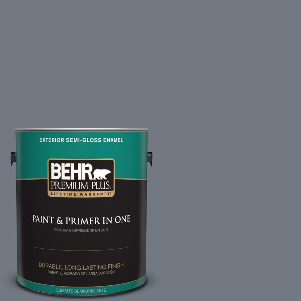 BEHR Premium Plus 1-gal. #PPF-38 Deep Shale Semi-Gloss Enamel Exterior Paint