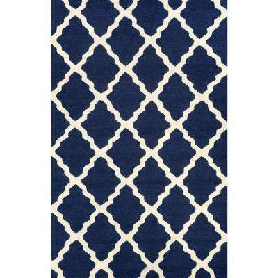 Trellis Navy Blue 6 ft. x 9 ft. Area Rug