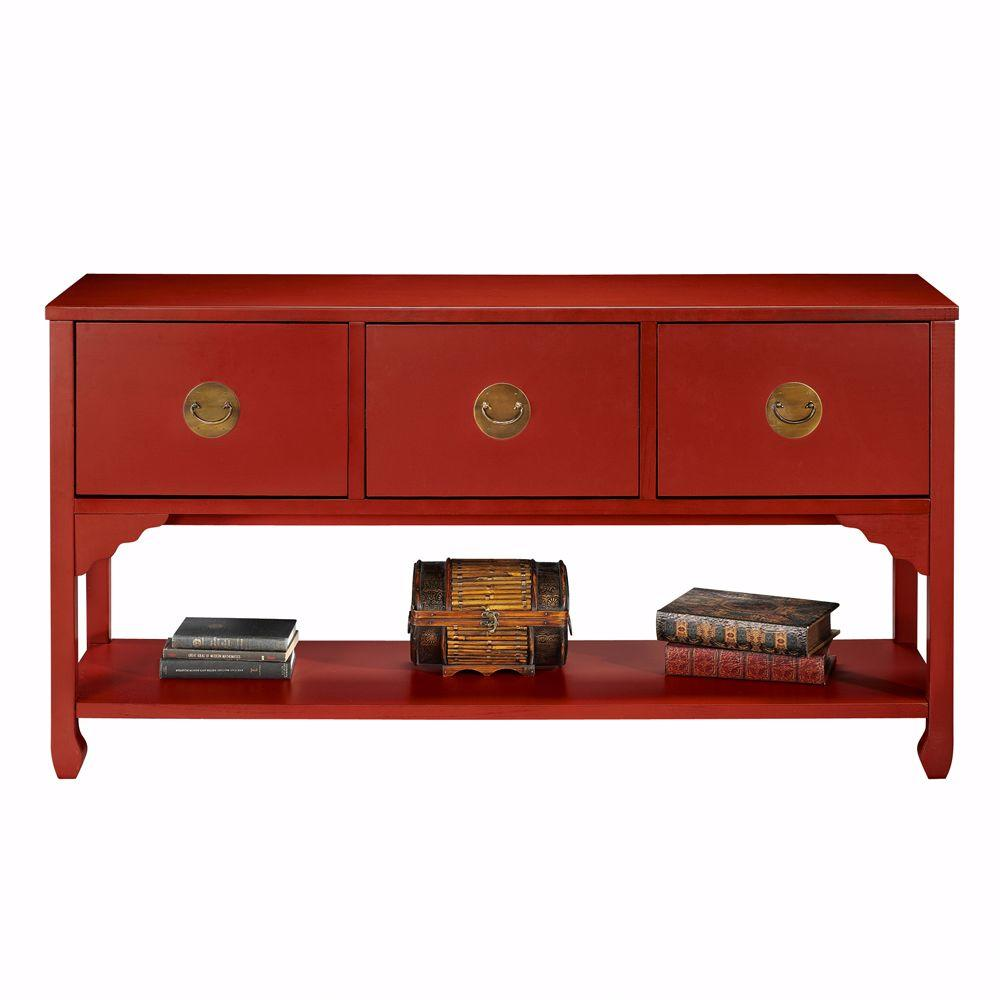 Home Decorators Collection Wuchow Antique Red 3-Drawer File Console