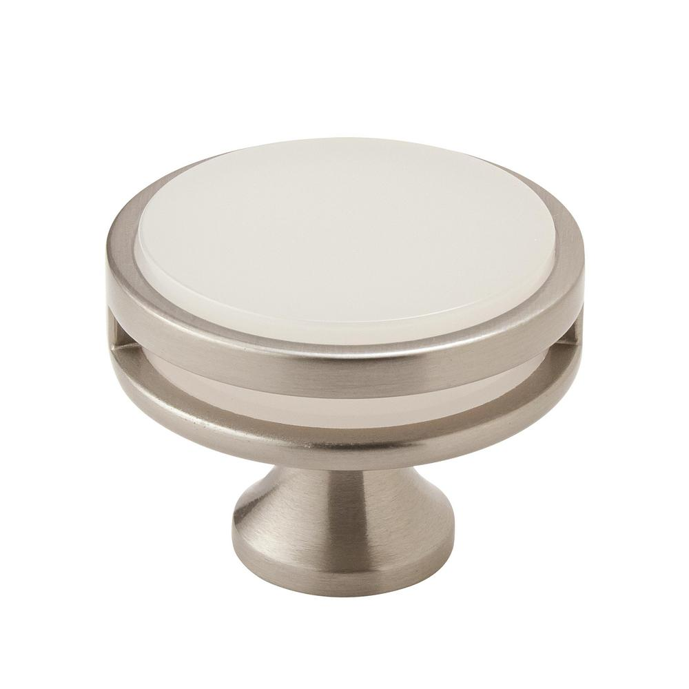 Oberon 1-3/4 in. (44 mm) Dia Satin Nickel/Frosted Acrylic Round Cabinet