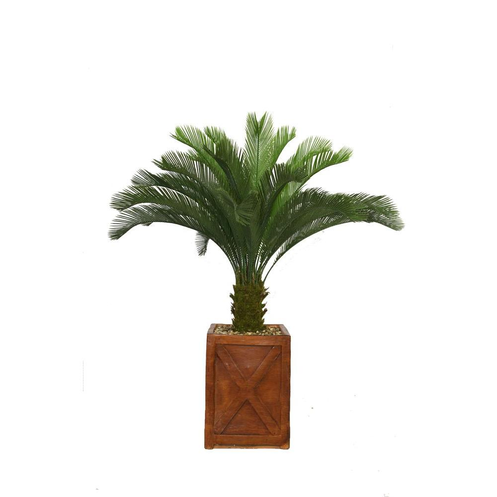 Laura Ashley 57 in. Tall Cycas Palm Tree in 13 in. Fibers...