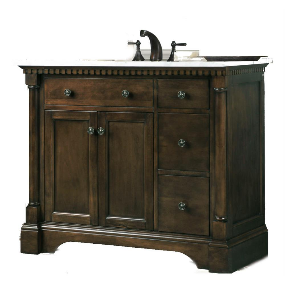 37 in. W x 33 in. H Vanity in Antique Coffee with Carrara Marble Top with White Ceramic Basin