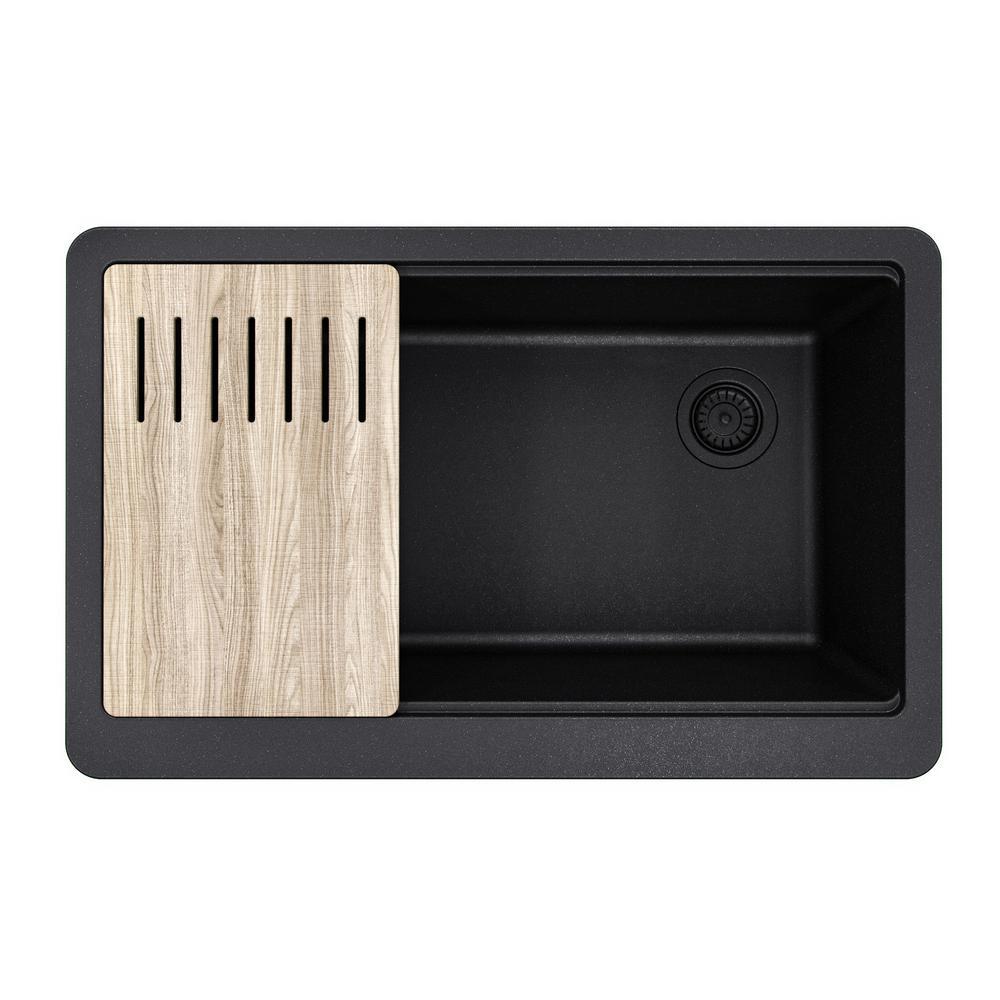 Bellucci MetallTek Farmhouse ApronFront Granite 30 in. Composite Single Bowl Kitchen Sink with Cutting Board in Black