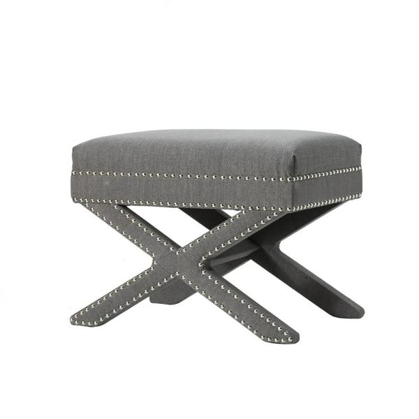 X-BASE Leigh Soft Upholstery-LIinen Wood Seating Accent Stool, Gray