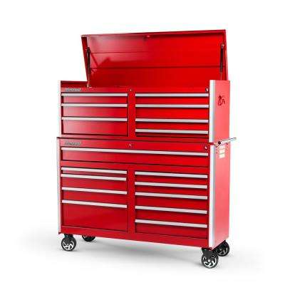 Tech Series 54 in. 17-Drawer Tool Chest and Cabinet Combo Red