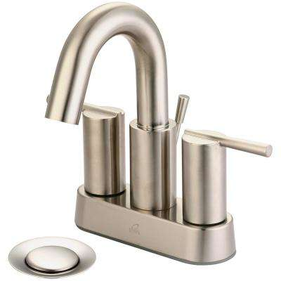 i2v 4 in. Centerset 2-Handle High Arc Bathroom Faucet with Brass Drain in Brushed Nickel