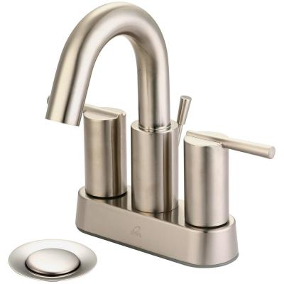 i2v 4 in. Centerset 2-Handle High-Arc Bathroom Faucet with 50/50 Drain in Brushed Nickel
