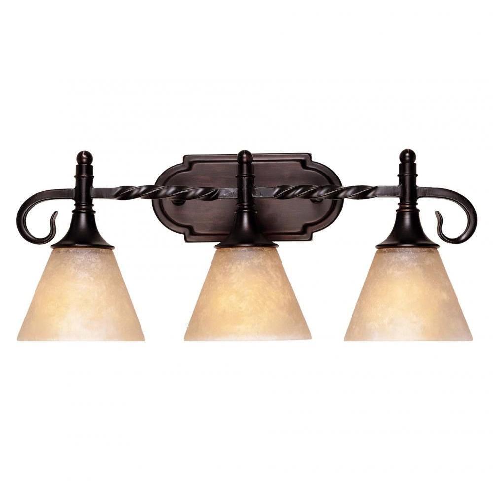 Dela 3-Light English Bronze Bath Vanity Light