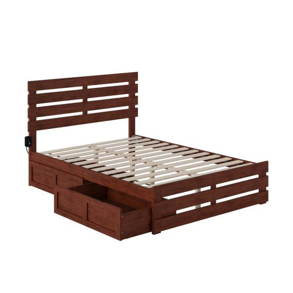 Oxford in Walnut Full Bed with Footboard and USB Turbo Charger with 2-Drawers