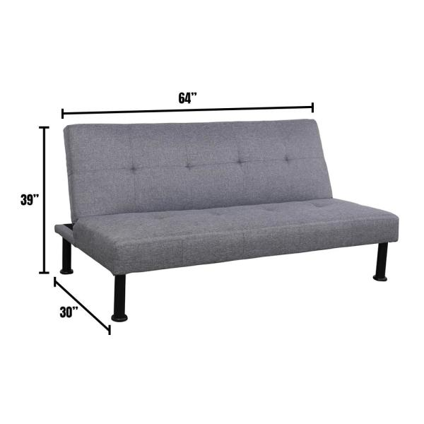 Gray Linen Futon Convertible Sofa