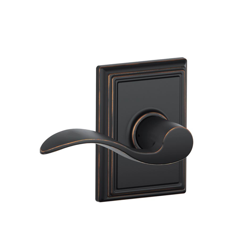 Accent Aged Bronze Passage Hall/Closet Door Lever with Addison Trim
