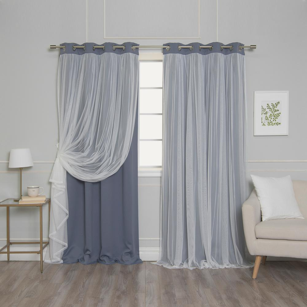 Best Home Fashion Stone 108 in. L Marry Me Lace Overlay Blackout Curtain Panel  (2-Pack)