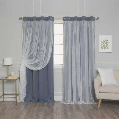 Stone 108 in. L Marry Me Lace Overlay Blackout Curtain Panel  (2-Pack)