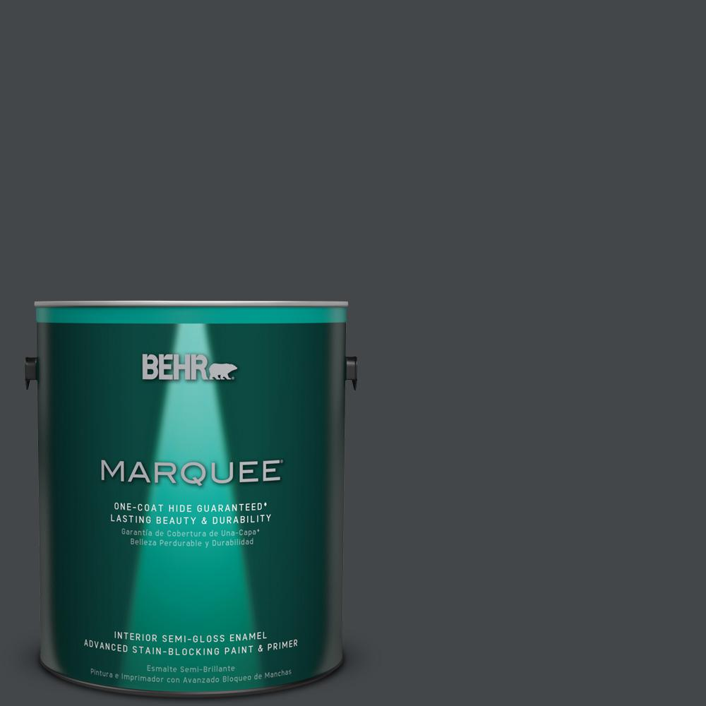 1 gal. #PPU24-23 Little Black Dress Semi-Gloss Enamel Interior Paint