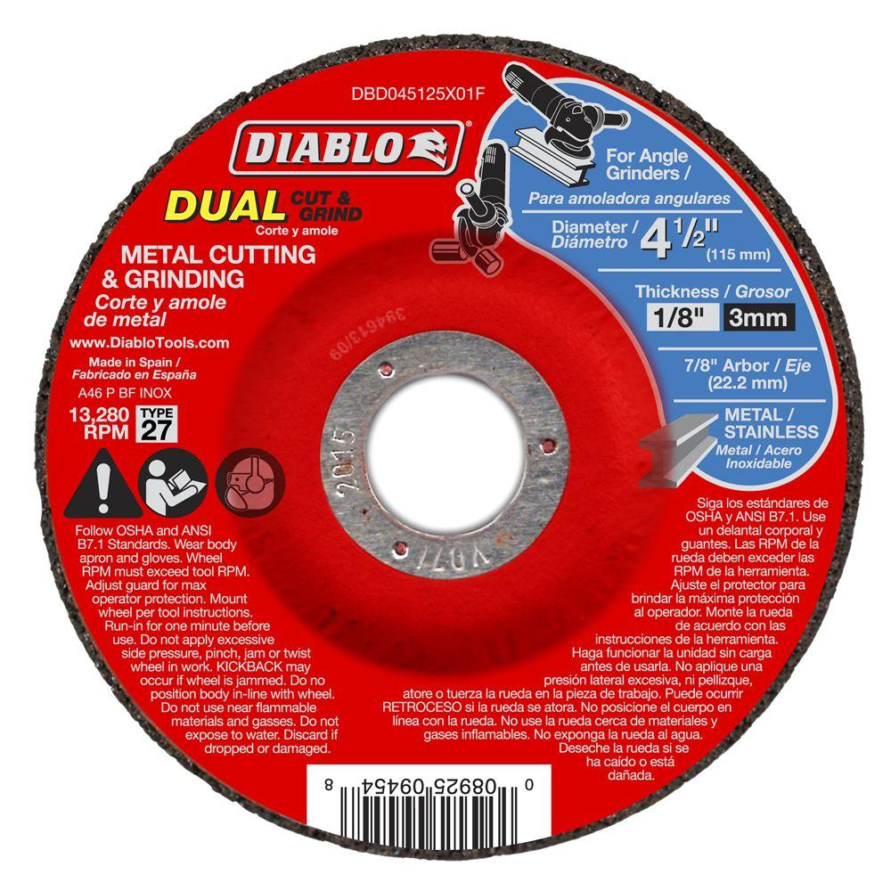 Diablo 4-1/2 in. x 1/8 in. x 7/8 in. Dual Metal Cutting and Grinding Disc with Type 27 Depressed Center (10-Pack)