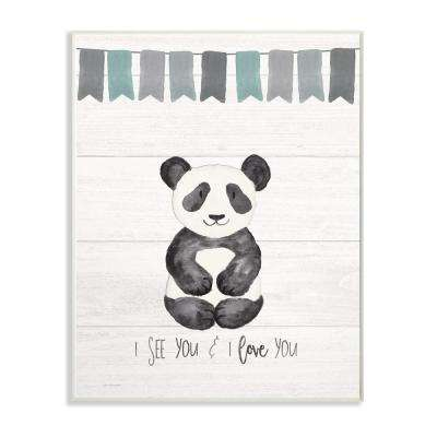 "10 in. x 15 in. ""I See You Panda"" by Jo Moulton Printed Wood Wall Art"