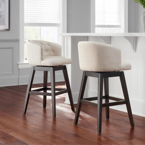 Home Decorators Collection Bardell Swivel Upholstered Bar Stool With Biscuit Beige Seat And Barrel Back 20 In W X 38 5 In H 4113 30 Biscuit The Home Depot