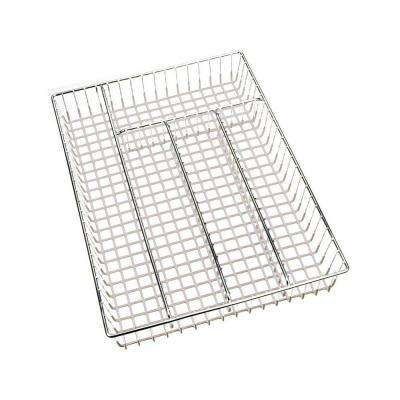 14.2 in. x 10.2 in. x 2.17 in. Cutlery Tray in Chrome White