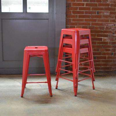 Stackable Metal Bar Stool In Orange Set Of 4