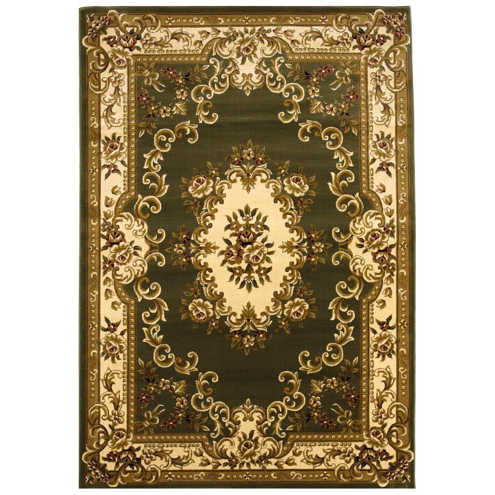 Elegant Aubusson Green 3 ft. 3 in. x 4 ft. 11