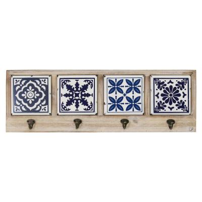 Blue and White Accent Tile Coat Rack
