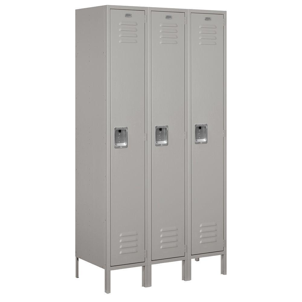51000 Series 45 in. W x 78 in. H x 18 in. D Single Tier Extra Wide Metal Locker Unassembled in Gray