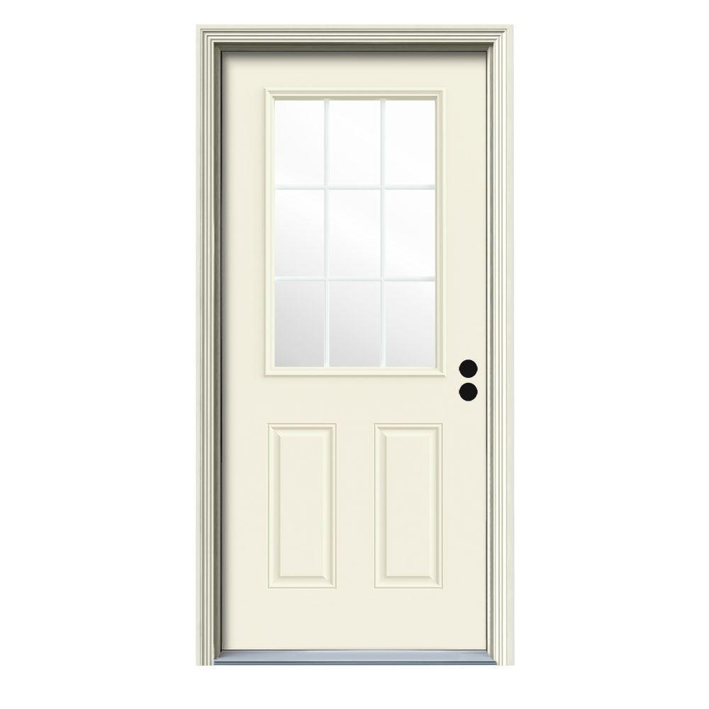 JELD-WEN 34 in. x 80 in. 9 Lite Vanilla Painted Steel Prehung Left-Hand Inswing Front Door w/Brickmould