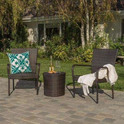 Littleton Brown 3-Piece Wicker Patio Conversation Set