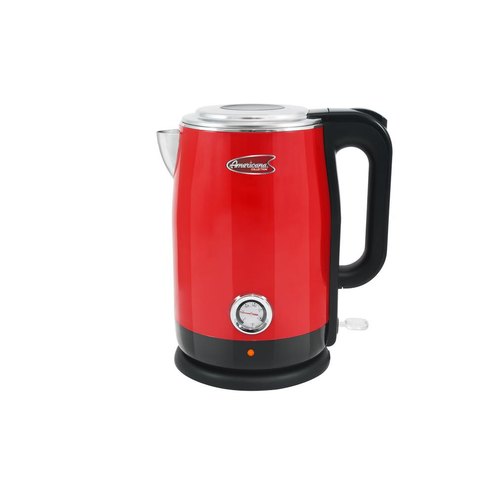 1.7 l Red Cool Touch Stainless Steel Electric Kettle with Temperature Gauge The Americana 1.7 l Cool Touch Electric Kettle is the perfect blend of nostalgia and functionality. Not only is this kettle a fun and retro addition to any kitchen countertop, but it also boils water efficiently, saving time and energy over the use of conventional stovetop kettles. This kettle boasts a double wall cool touch exterior, an exterior temperature gauge and a BPA-Free Food Grade 304 Stainless Steel Interior with zero contact between plastic and water surfaces. Color: Red.