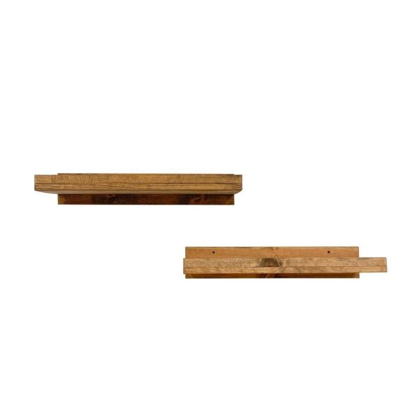 Del Hutson Designs Rustic Luxe 24 In W X 10 In D Floating Walnut Decorative Shelves Set Of 2 Dhd1187 The Home Depot