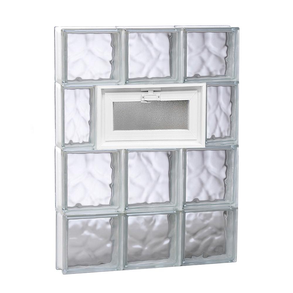 17.25 in. x 27 in. x 3.125 in. Wave Pattern Vented Glass Block Window