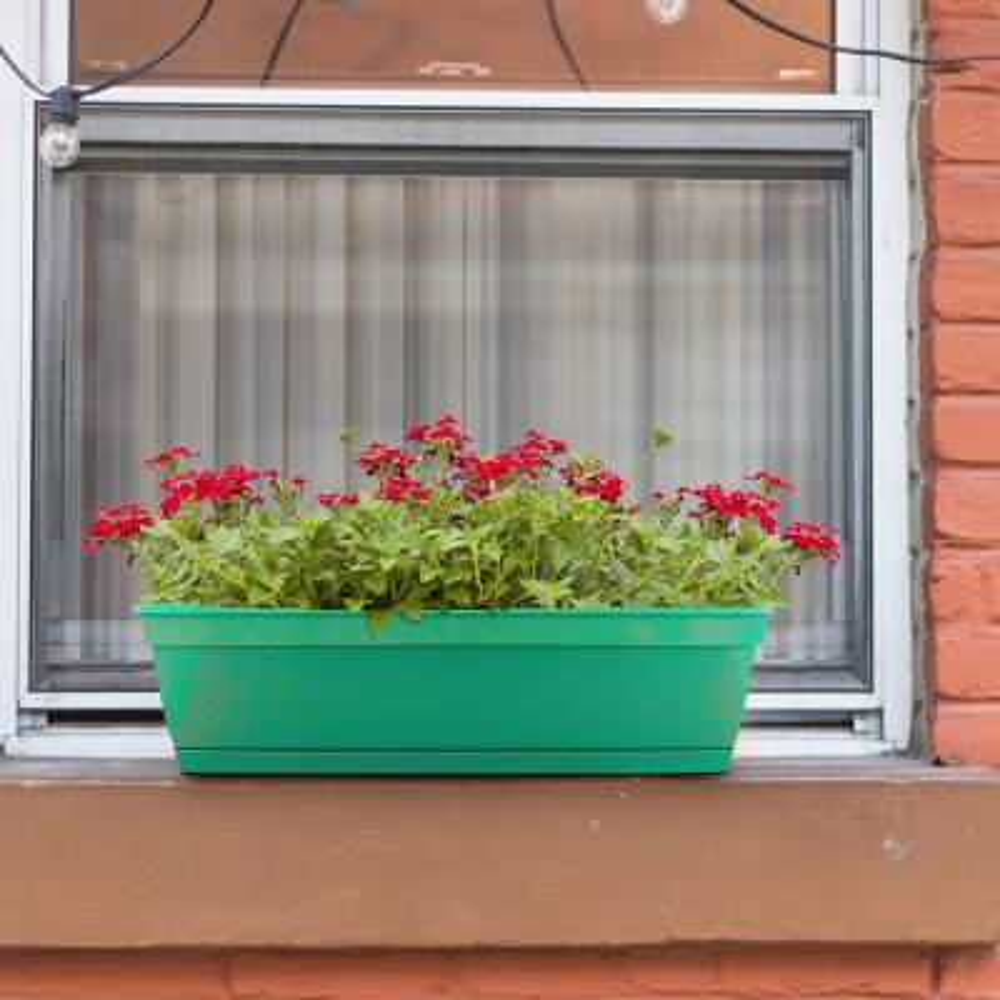23.75 in. x 7.88 in. Cadmium Green Plastic Window Box