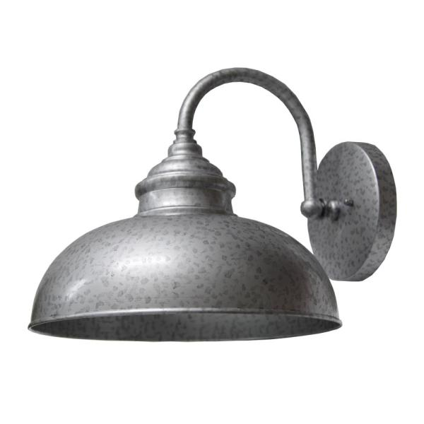 1-Light Silver Outdoor Wall Mount Barn Light Sconce