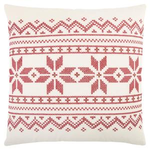Ivory and Red Cotton 20 in. X 20 in. Decorative Filled Throw Pillow