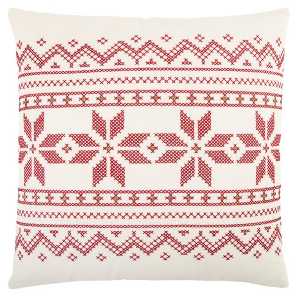 Rizzy Home Ivory and Red Cotton 20 in. X 20 in. Decorative Filled Throw Pillow